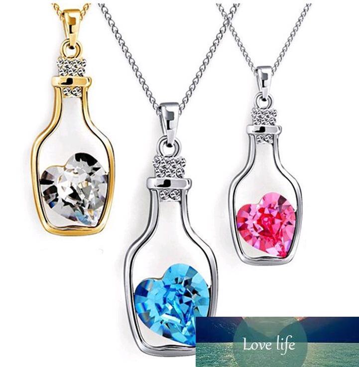 Desejando Garrafa Jóias Coração Colares do Crystal Fashion faísca de pedra Sautoir para meninas barato venda 8colors