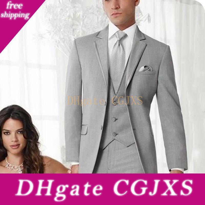 Mode Deux boutons gris clair de mariage Hommes Costumes Trois Pièces Notch Lapel Business Groom smokings (Veste Pantalon Gilet Tie) W1007