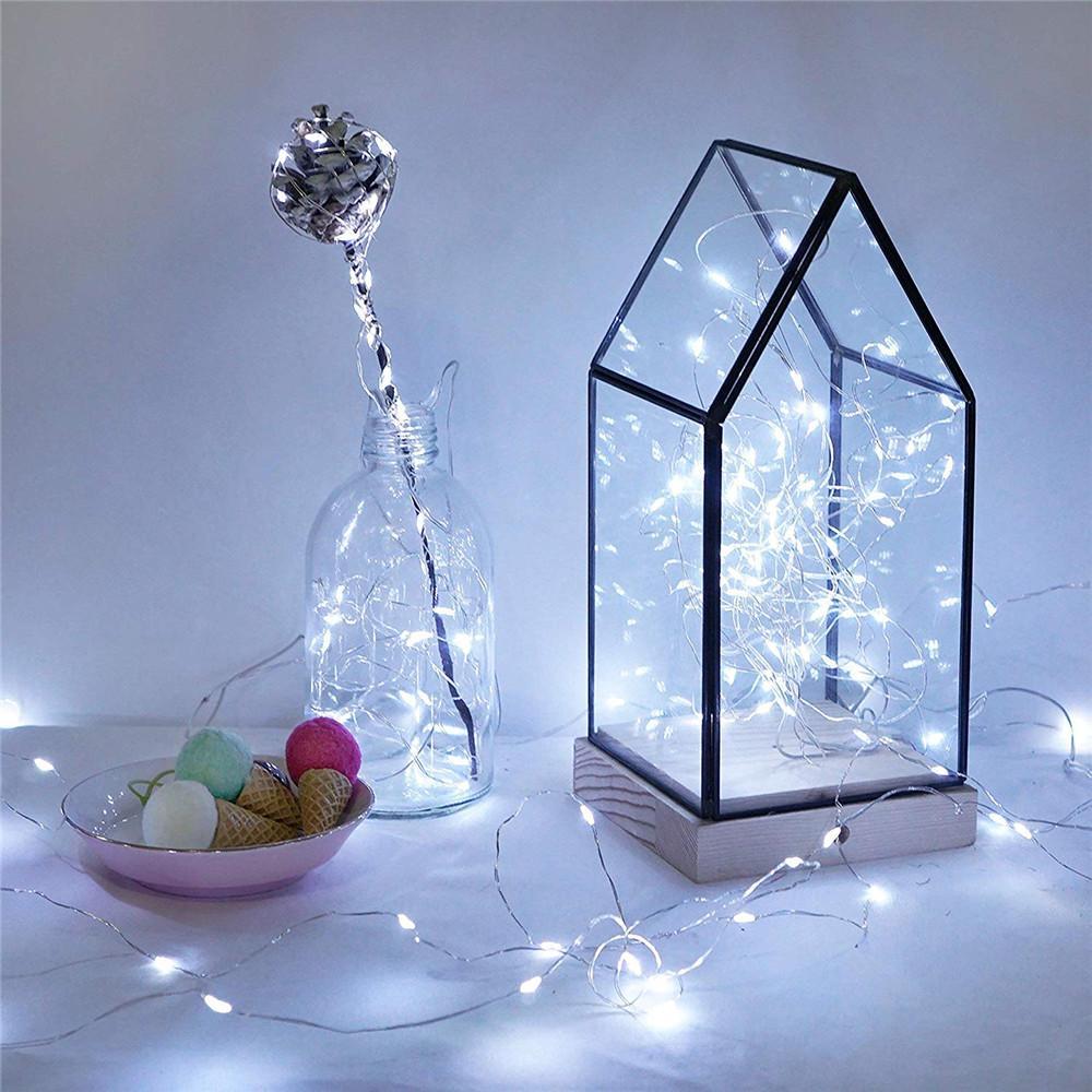 luzes 10pcs / lot corda férias 3M 2M LED criativa Botão Powered bateria de cobre prata Lâmpada Mini decorativo para festa de casamento