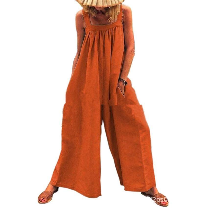 Para mujer del mono de los guardapolvos del color sólido flojo ocasional sin mangas de los mamelucos forman los pantalones anchos de piernas Inicio de vacaciones mujer Monos