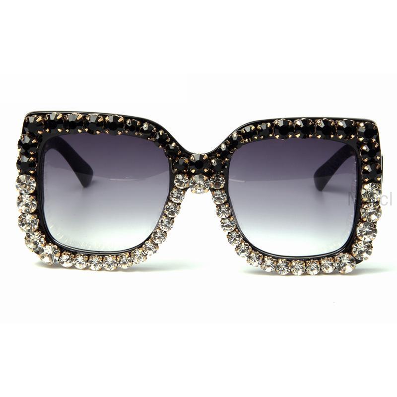 Luxury Vintage BIg Rhinestone Óculos Mulheres Verão Marca 2020 Designer de moda de diamantes Sunglasses Shades FML
