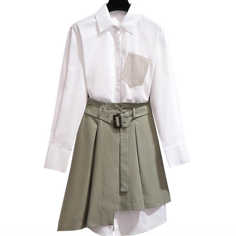 Белая рубашка с длинным рукавом платье рубашки платье ранней осенью новых женщин в начале осени 2019 популярной юбка костюм из двух частей набора