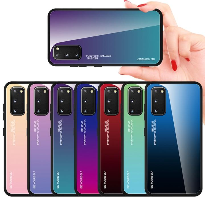 Градиент закаленное стекло Чехол для телефона Мягкий край для Iphone 12 11 Pro Max X XS XR SE 2020 SE2 6 6S 7 8 PLUS Xiaomi ПОКО X3 NFC Cover Be Yourself