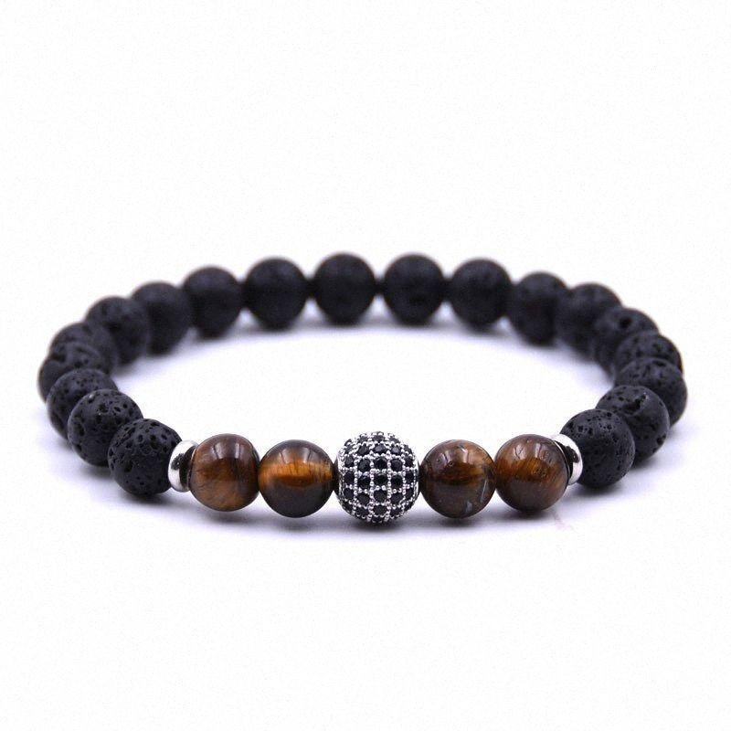 Trendy Lava-Stein-Armband Männer Charme-Disco-Kugel-Strand Armband 8mm Tiger Eyes Perlen-Armband für Männer Armband Heren Pulseras t0yH #