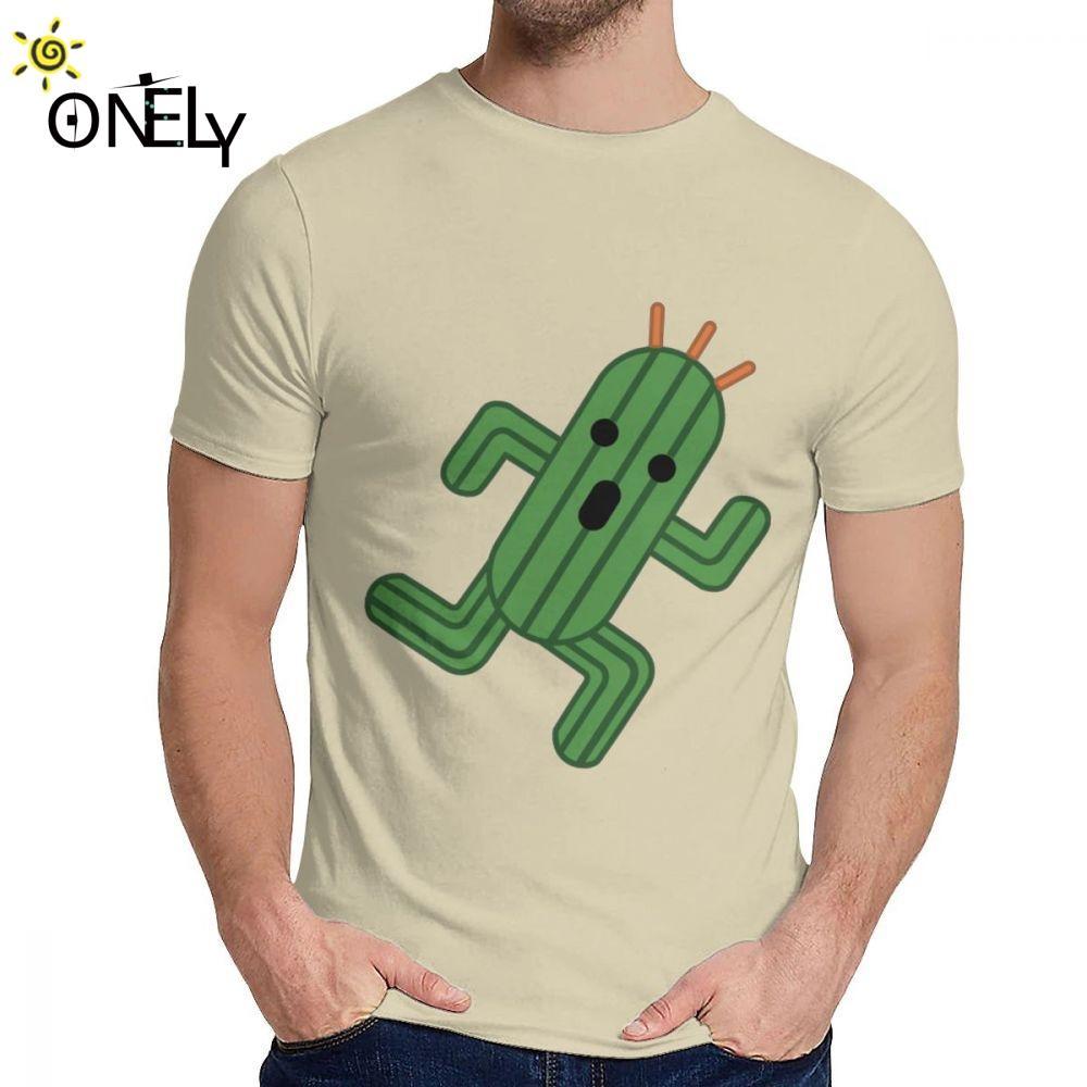 Per l'uomo Tee Shirt Final Fantasy Cactuar Cute Cotton Natural divertente classico girocollo disegno del fumetto T-shirt
