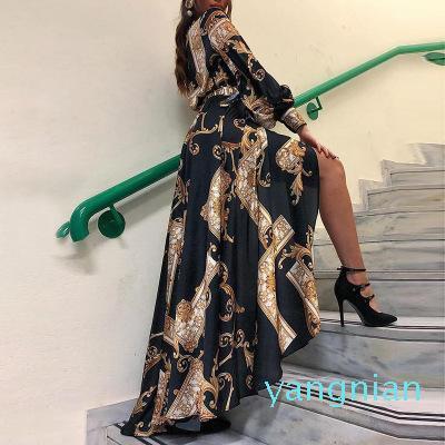 Горячая продажа Барокко женщин с длинным рукавом платья Boho цветочные Багги вскользь платье макси Сарафаны платье партии Мантия платье пляж Vestidos