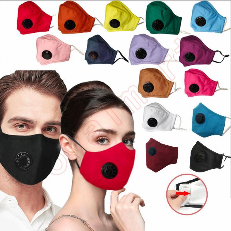 14 Цвета Solid Color Дыхательные Valve Fashion Face Mask пыленепроницаемом моющийся многоразовый хлопковая маска для взрослых DHL Бесплатная доставка