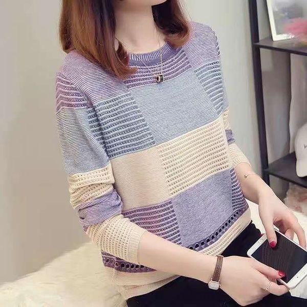 Uma variedade de malha pulôver de disponível correspondência de cores estilo coreano 2.019 no início do outono listrada manga longa assentamento malhas pullove