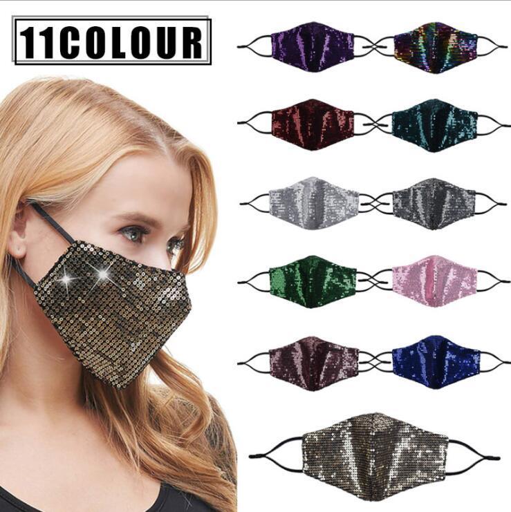 Masques respirante Couverture solaire Sequin Bouche Version mince d'été bling bling Dustpoof masque facial lavable masques visage peut mettre le filtre LSK781