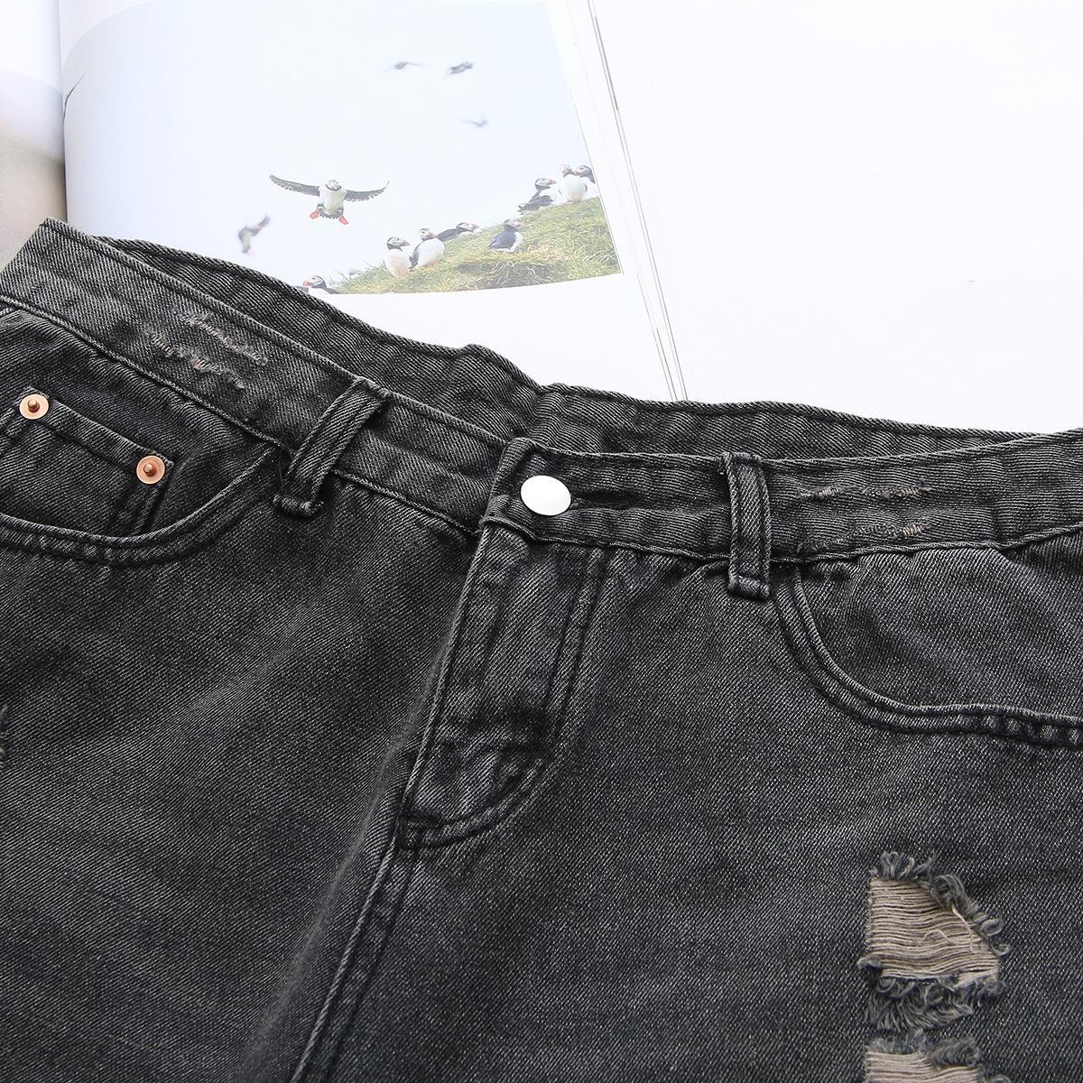 5ctF2 ufiUH yeni boyut kadın yıpranmış kot SY60 bayan dış giyim 2019 ilkbahar ve yaz Artı şişman Coat Şort sıcak pantolon mm zayıflama sıcak pantolon s