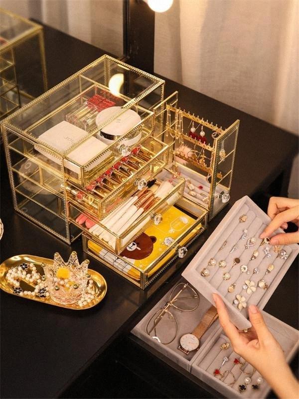 Ретро стекло ювелирные изделия ящик для хранения кольца серьги ожерелья Отделочные Box для женщин серьги кольца Косметика Организатор Ларец zJAw #