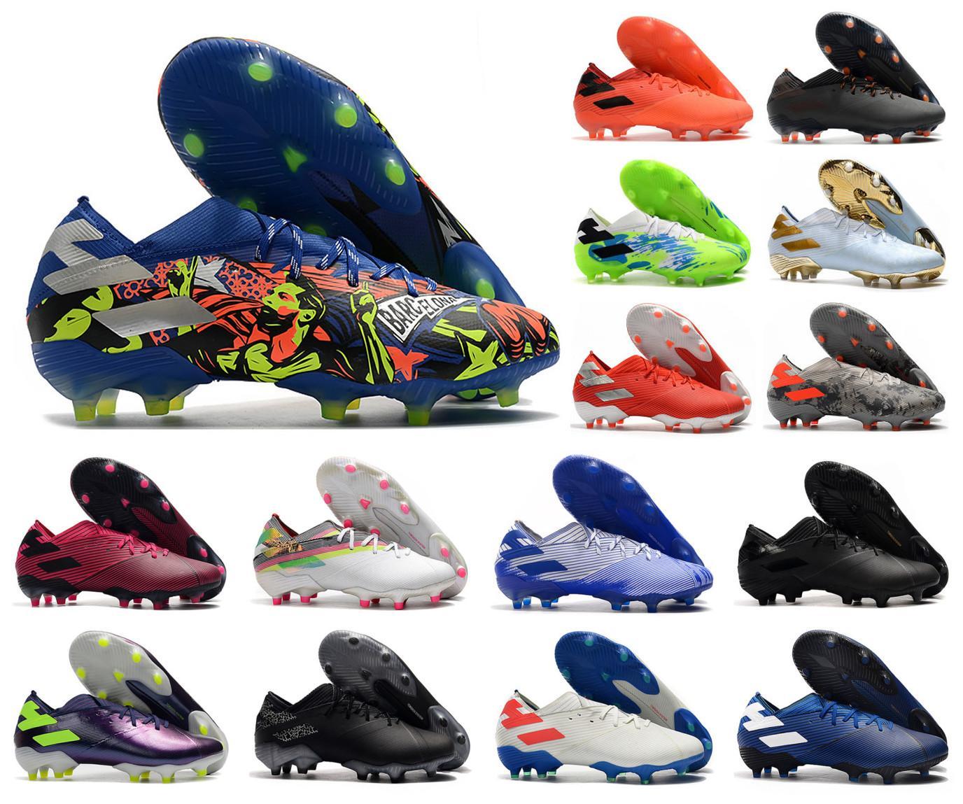 2020 Mens Messi Nemeziz 19,1 FG Messi Inflight escuro Movimento Uniforia Deslizamento-em futebol sapatos de futebol Low Botas Grampos Tamanho US6.5-11