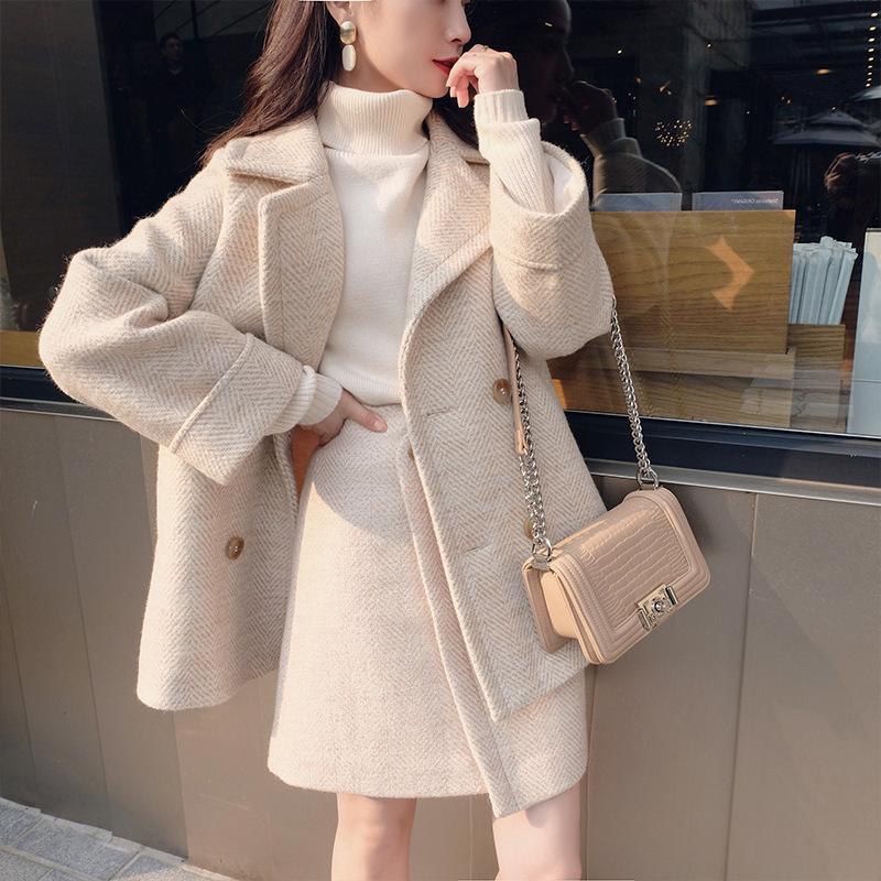 Jaqueta de lã falso de inverno e saia conjunto coreano casaco feminino za mulheres manteau mulheres outono básico moda femme espessura capa capa