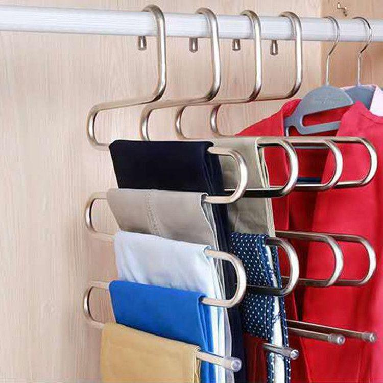 Многофункциональный S-тип брюк стойки из нержавеющей стали многослойных брюк стойки бесследовой взрослой вешалки крюка