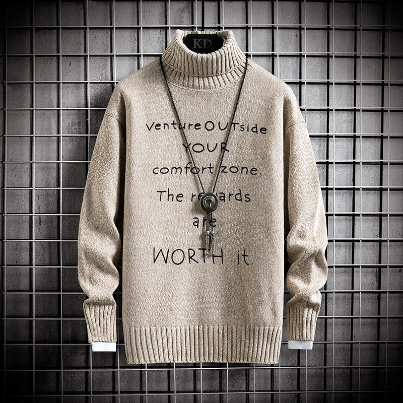 Nueva marca caliente grueso suéter de cuello alto suéter de impresión hombres adelgazan los puentes de punto de invierno estilo coreano casuales para hombre Ropa