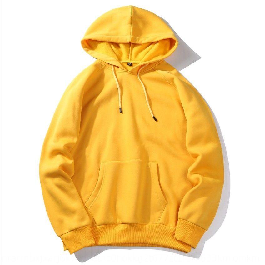 1jwI6 outono e velo dos homens de inverno engrossar suéter cor sólida Harajuku manga longa pulôver amarelo suéter de lã com capuz Europeia