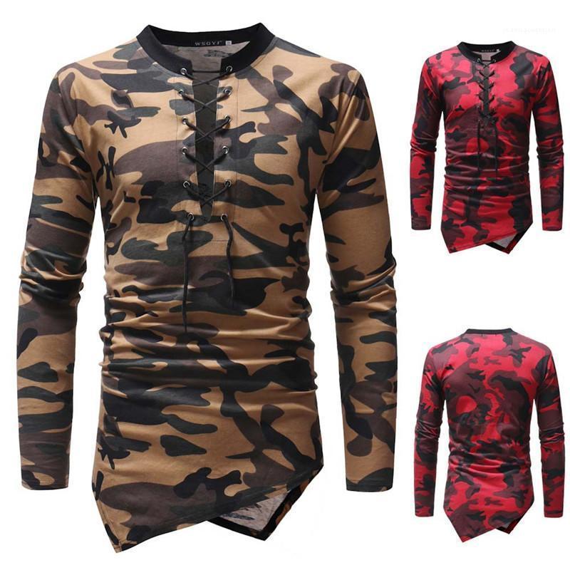 Cravate Décolleté mince irrégulière ourlet Hommes T-shirts Les hommes Vêtements décontractés Hommes Camouflage Print Designer personnalité T-shirts