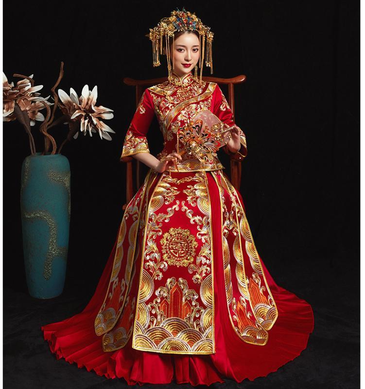 Kırmızı Düğün Gelin Çin Tarzı Cheongsam Geleneksel Lady Uzun Qipao Nakış Kadın Abiye Elbise S evlenmek - XXL