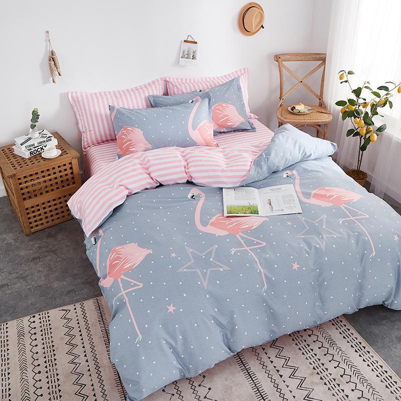 100% Cutton Cartoon The flamingo dinosaur fruit Series Super Breathe Skin Friendly Queen King Size Luxury Comforters Bedding Sets AMS29032
