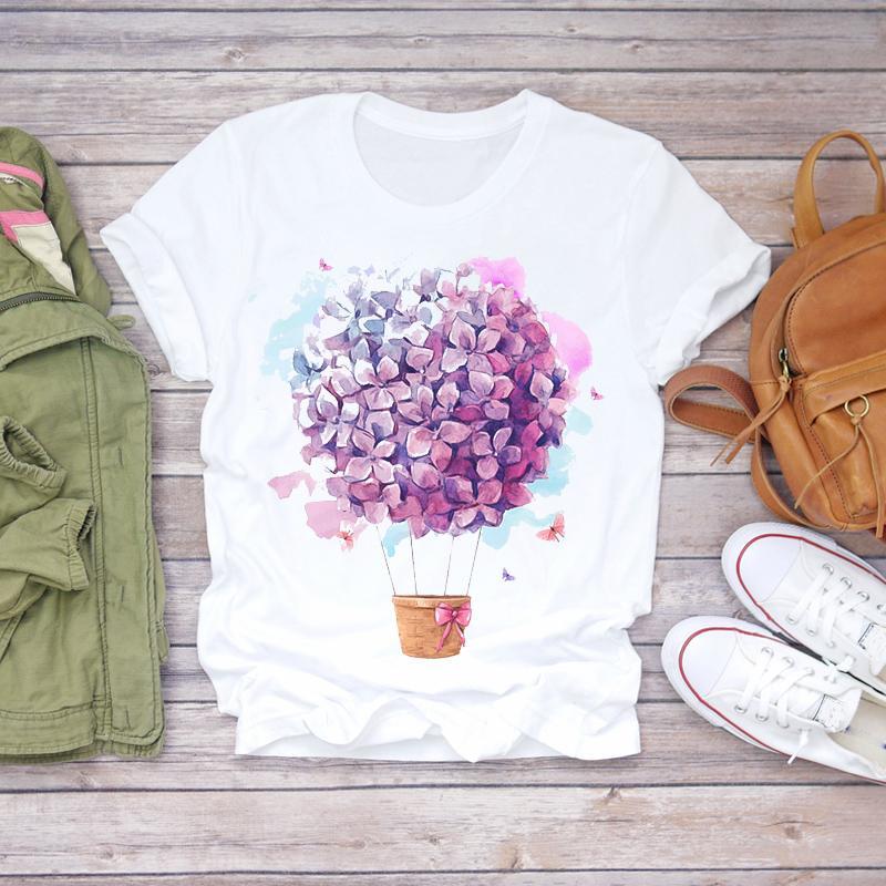 Blumenblumen-Tops Frauen 2020 femme T-Shirt Frauen Kleidung Damen weibliche Grafik-T-Shirt mujer