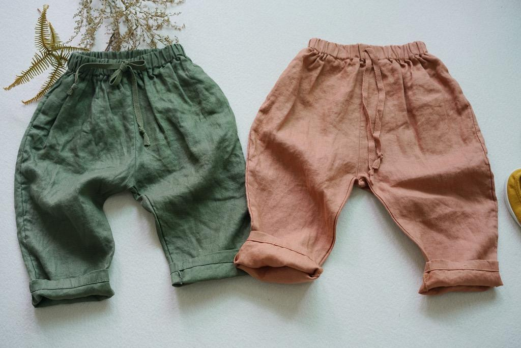 FM Korean New Autumn Kids Little Boys Straps Pants Organic Linen Cotton Winter Elastic Wasit Trousers Spring Unisex Children Girls Trousers
