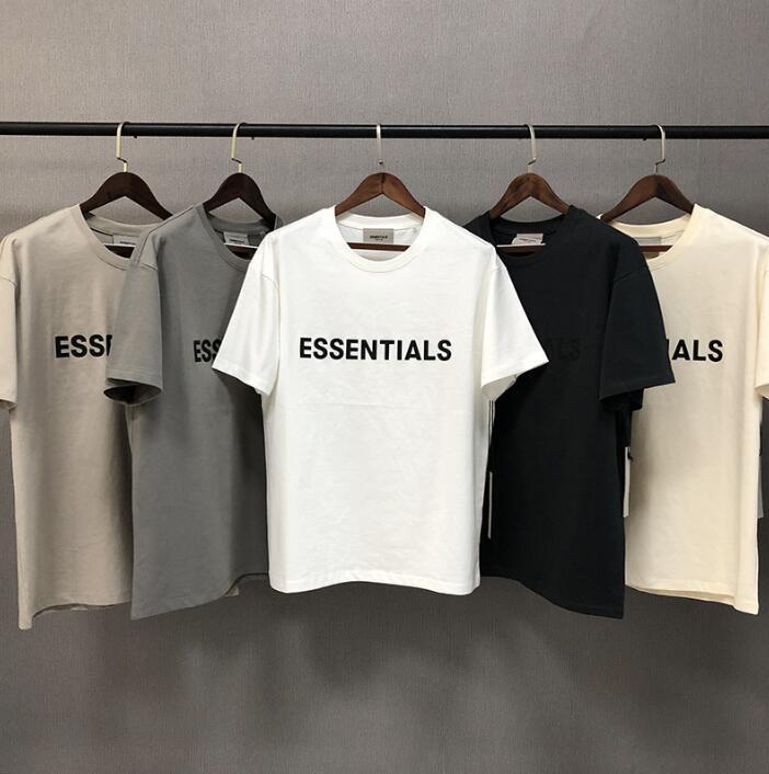 2020 Ins Hot Primavera-Verão Hip Hop Fear Of God Frente Essentials 3D Silicon Tee skate camiseta Nevoeiro Homens Mulheres de manga curta T Camisa Casual