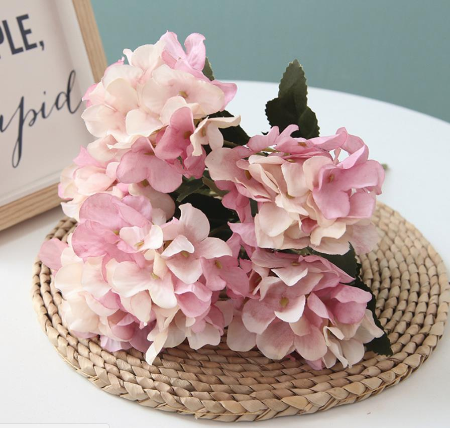 1 комплект шелковой Гортензии осенью вазы для домашнего декора Рождество декоративного цветка свадебного цветок набора стены искусственных цветы дешевки