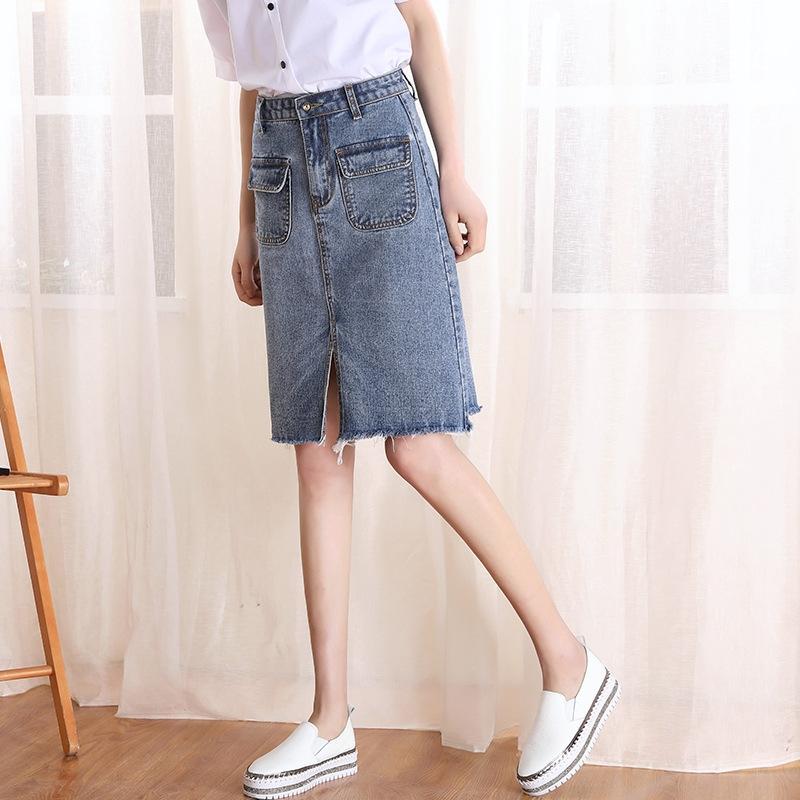 DVLVY 2019 primavera verano de la falda de media eslora nuevo dril de algodón de mezclilla larga falda de las mujeres de cintura alta línea A- de la cadera y el verano irregular