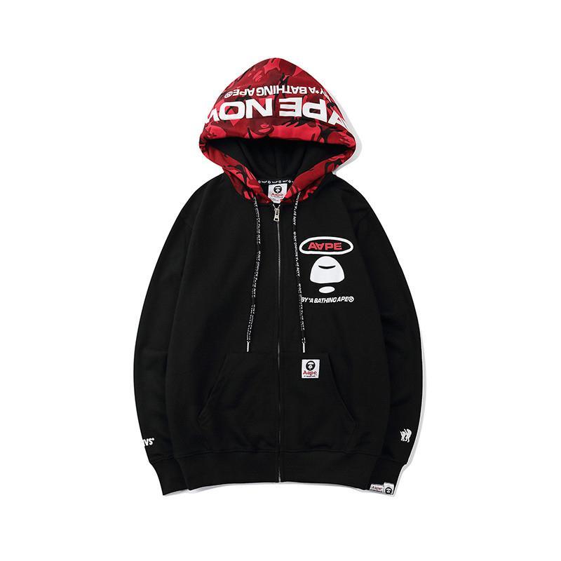 Сложных полиэфиров Mens высокого качества Zipper толстовки куртки Hip Hop Мужчины Женщины моды с длинным рукавом Hoodie Mens стилиста Мужская с капюшоном толстовки куртка размер M-3XL