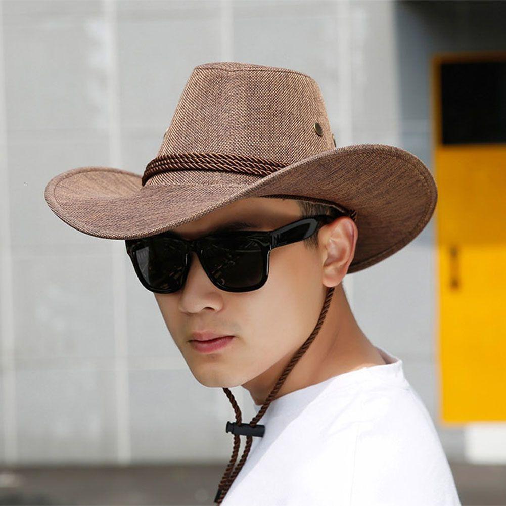 Homens Chapéus de palha Primavera-Verão Cowboy Outdoor Viagem Dome Grande Sun Cap Grande Brim Hat Male respirável Praia Tamanho