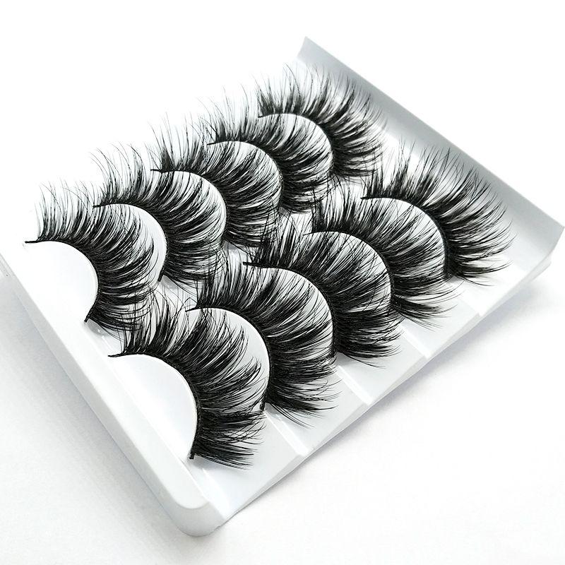 5 Pairs 3D Faux Mink Hair False Eyelashes Flared Wispies Full Long Volume Natural Thick Lashes Extension Handamde Makeup Tools