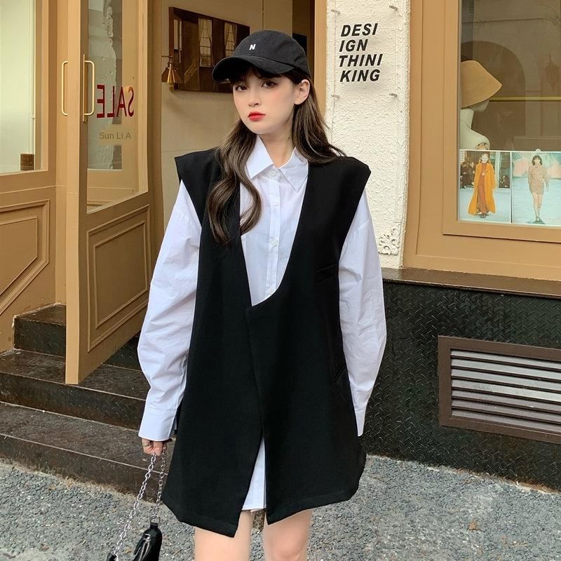 m6Uxc Autumn 2020 New loose mid-length outer V-neck vertical sleeveless suit vest vest for women f3028