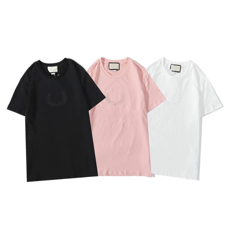 de las mujeres camiseta de 2020 nuevos Mens del estilo mujeres ocasionales del cuello de equipo camisas patrón de la moda de verano transpirable mujeres Carta Top Tees tamaño S-2XL