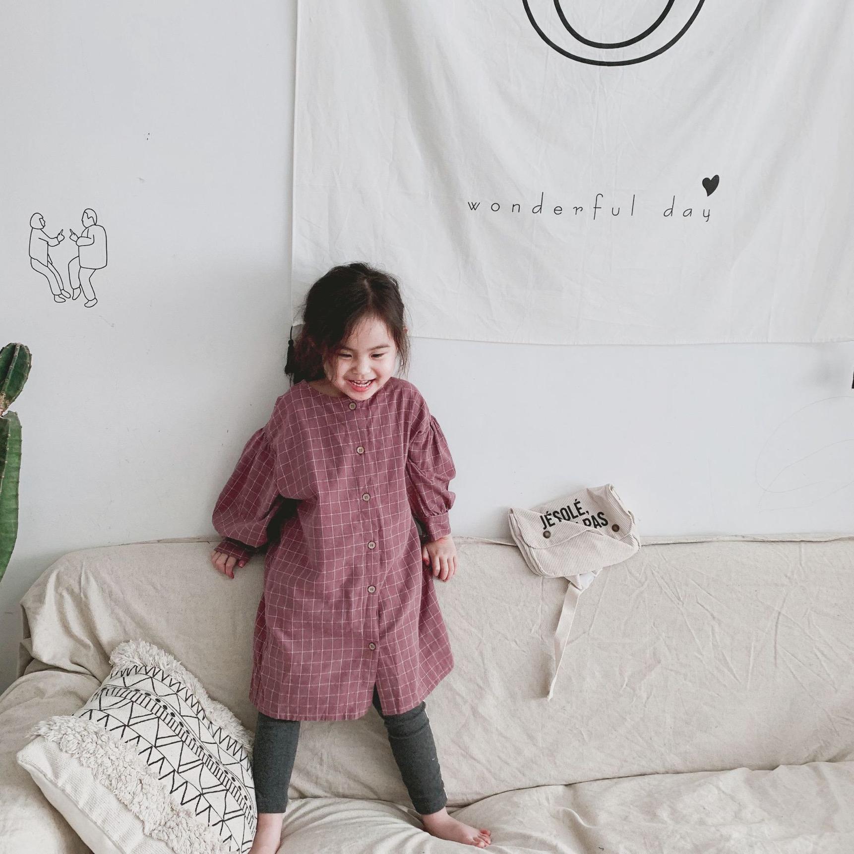 FM coréen qualité ins faude enfants petites filles lin bio robes de coton robes à carreaux enfants filles filles boutons frontes robe de princesse