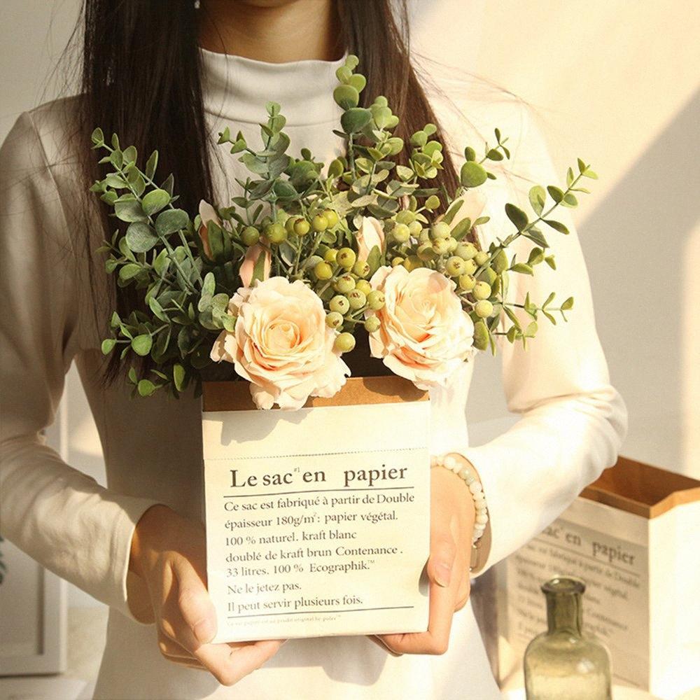 Mida INS eucalipto rosa ramo de flores artificiales fabricante de pared decorativo ramo de la boda el día de tarjeta de regalo VTgn #