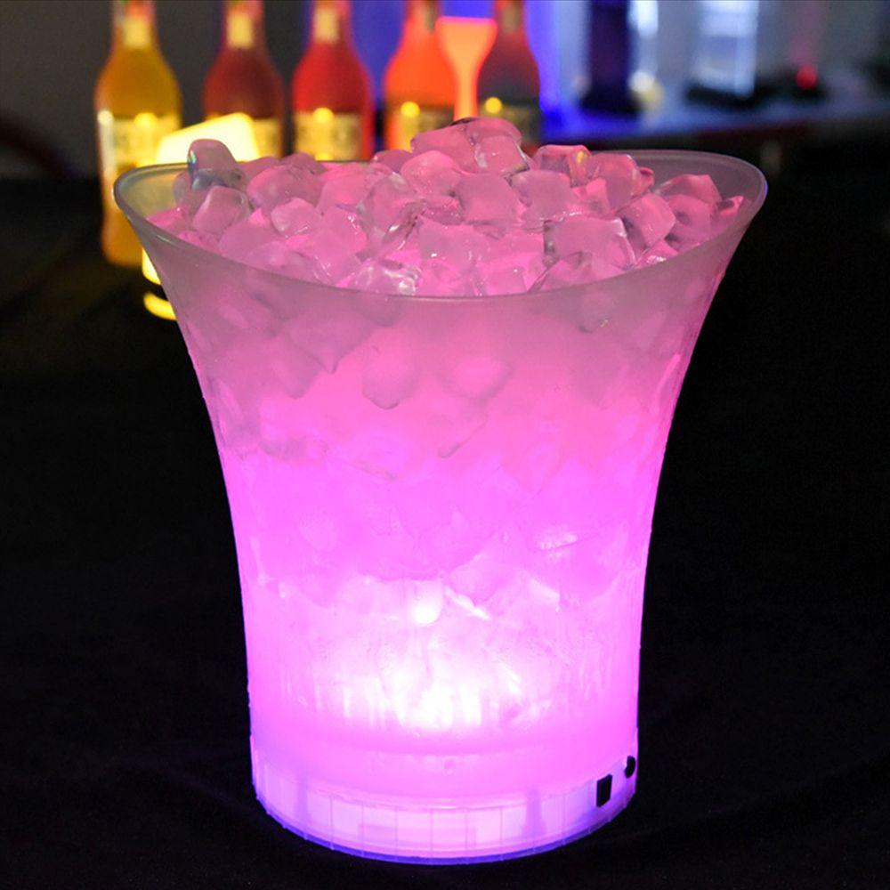 الجديدة بقيادة 5L ماء الثلج البلاستيك دلو 6 اللون البارات الملاهي الليلية LED تضيء الشمبانيا البيرة دلو الحانات الليلية حزب دلو الثلج