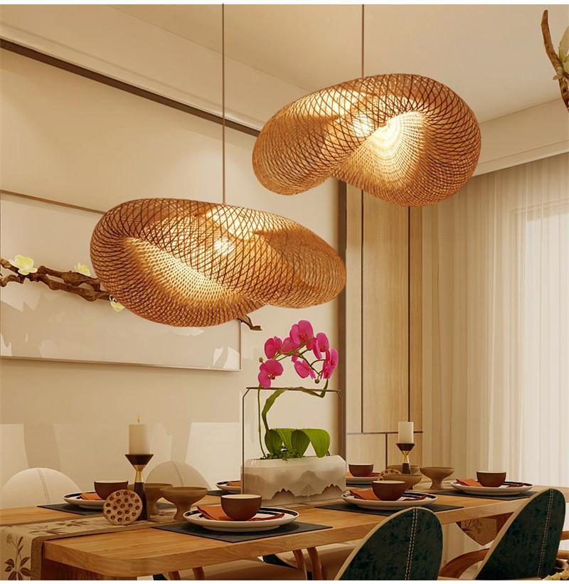 Bambus Wicker Rattan Wave-Shade Pendelleuchte Fixture Hänge Home Decor Wohnzimmer Pendelleuchten-Beleuchtungskörper