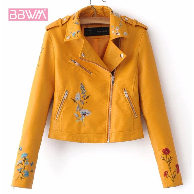 Bordados outono feminino nova versão coreana da lapela de couro PU locomotiva jaqueta de lapela de manga curta revestimento amarelo CX200811 rosa