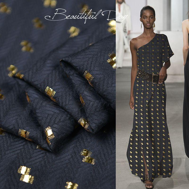 100см * 140см черный Елочка Шелковые ткани Золото жаккарда натурального шелка Хлопок платье Материал T200811