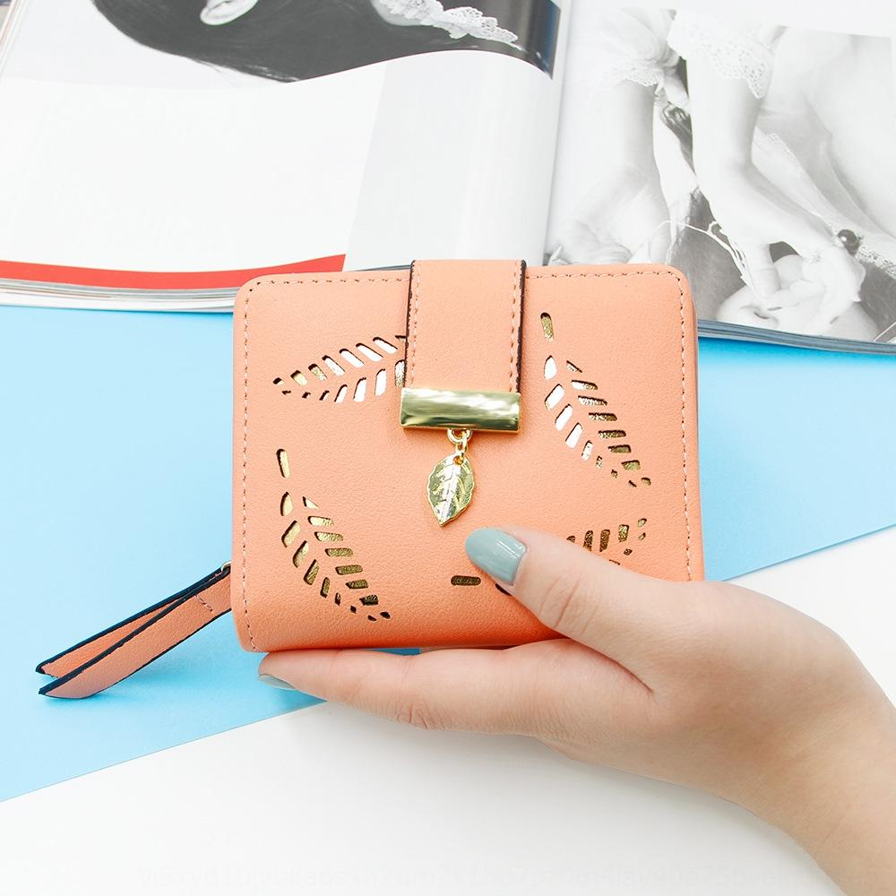 Tarjeta corta de las mujeres dos veces hueco-hacia fuera de la hoja bolsa de carpeta de la manera al estilo coreano monedero bolso de la tarjeta de la cartera mujeres p7rSJ