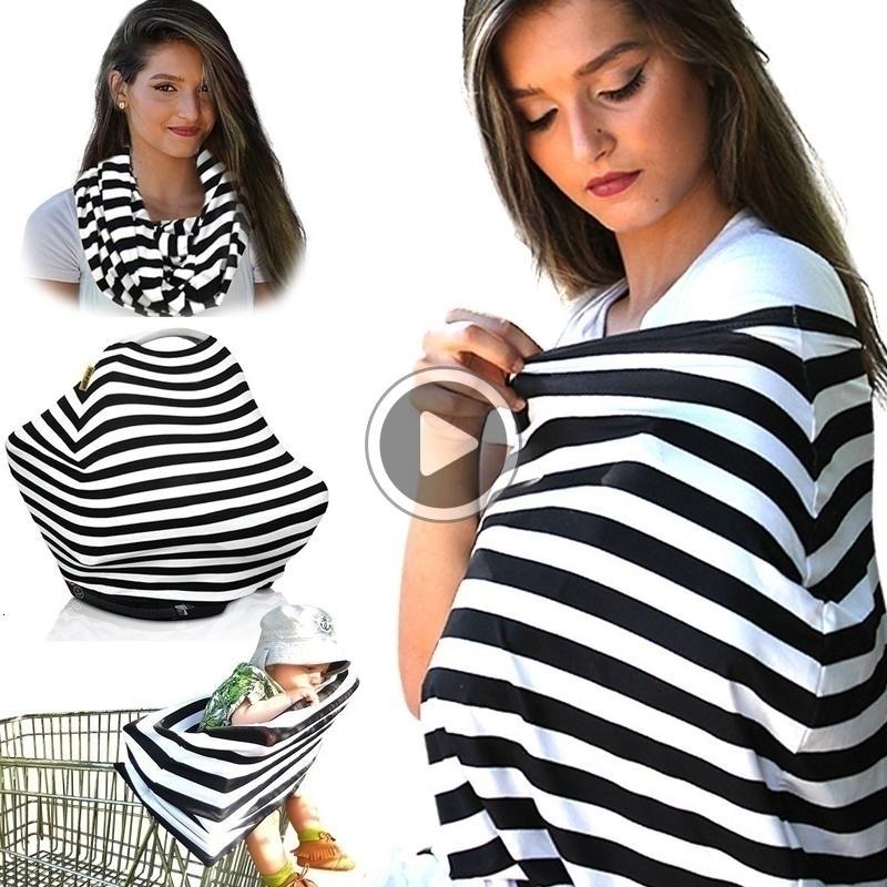 YYL4 D3S0 Multi-Use Stretchy Baby Nursing Breastfeeding Privacy er Scarf Blanket Stripe Infinity Scarf Baby Car Seat er Nursing er