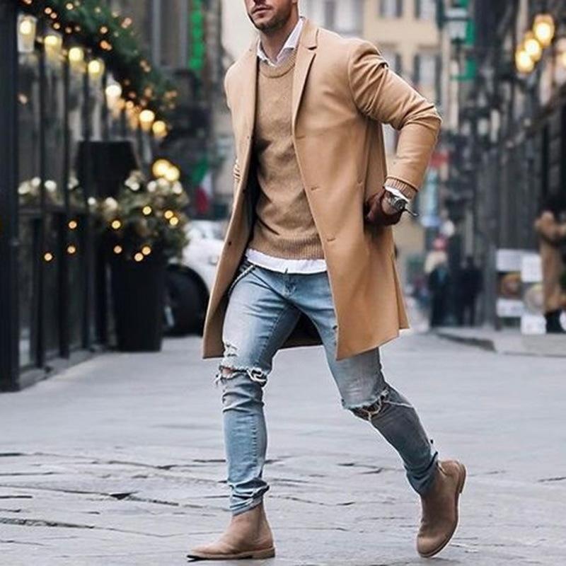 Frühling Winter Mens Marke Fleece Mischungen Jacke Männer Overcoat beiläufige feste dünne Kragen Mäntel Lange Baumwolle Trenchcoat Street