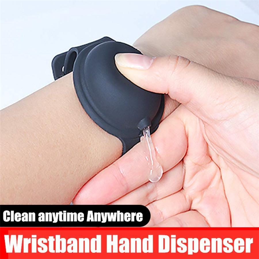 Titular Hand Sanitizer Silicone recarregáveis Pulseira Hand Sanitizer Pulseira Dispenser Wearable Sanitizering Dispenser viagem Gel NOVO