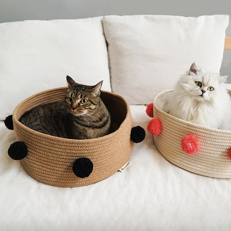с Pompom Woven Cat Bed Pet Кровати летом спальный мешок Nest Basket Pet Bed Мат Дом Комфортное Cat