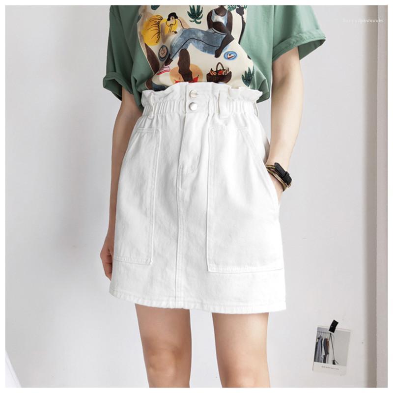 Pulsante ginocchio Big Pocket Solido Colore Denim Skirt Abbigliamento Donna Estate Womens Fashion Designer Abiti Sopra