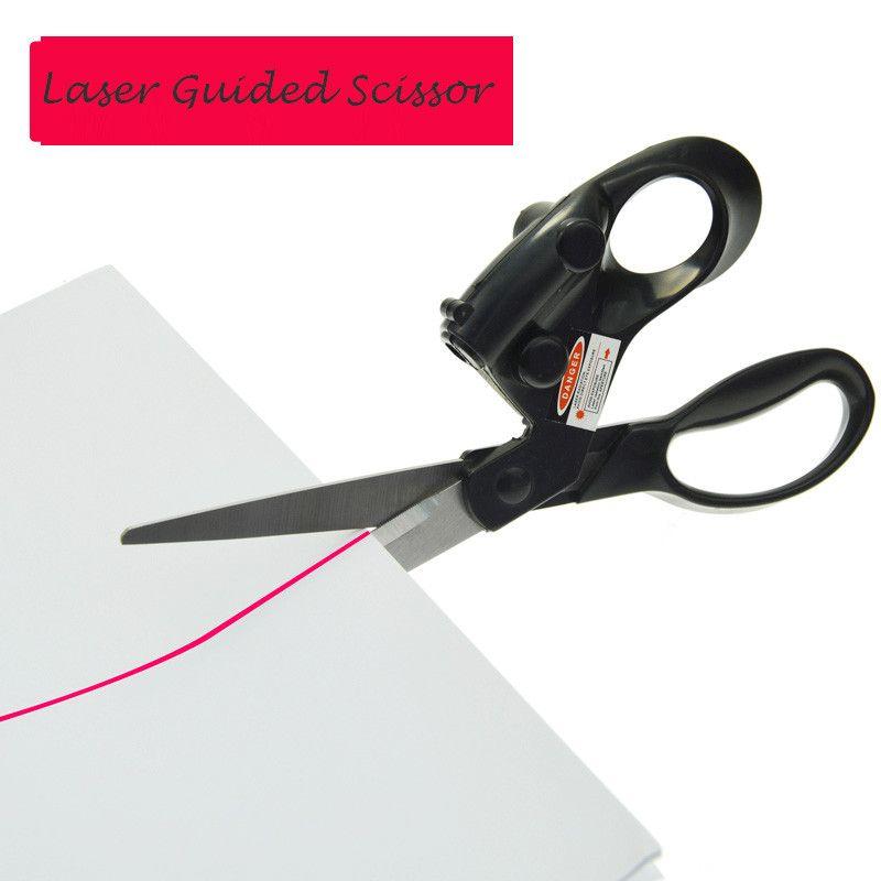 홈 공예 DIY 포장 선물 DIY 직물 봉제 절단 레이저 가이드 가위 빠른 배터리와 스테인레스 스틸 가위 절단 스트레이트