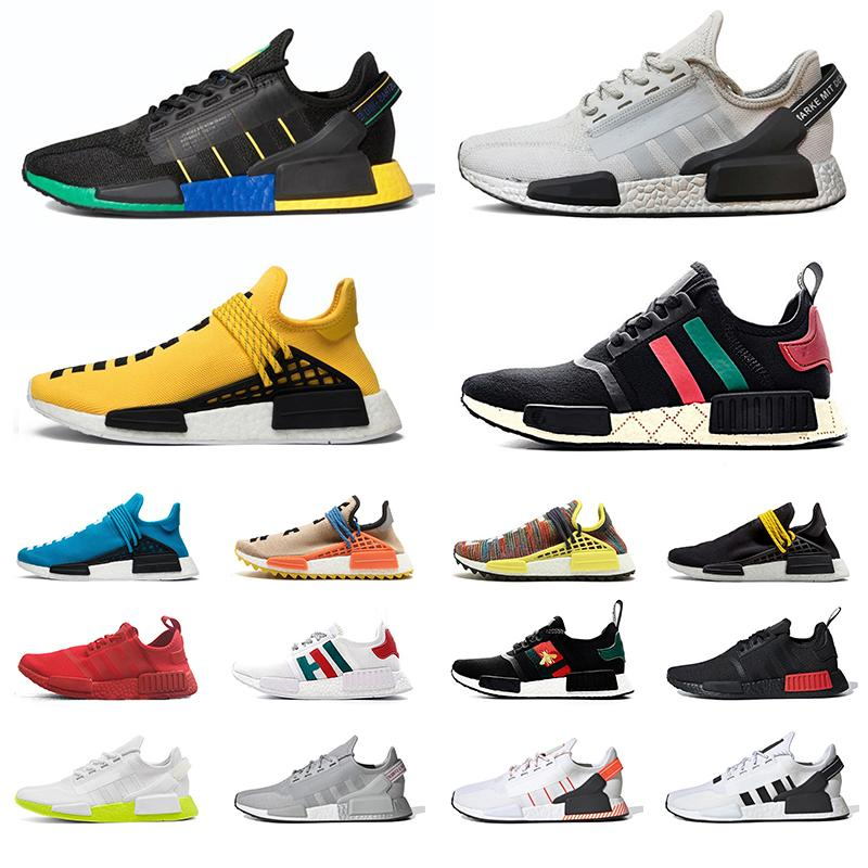 36-47 NMD Human Race R1 V2 Racer Men Women Running Shoes Pharrell Williams Hu Trail Nerd Black Blank Canvas Oreo Trainers Run Sneakers
