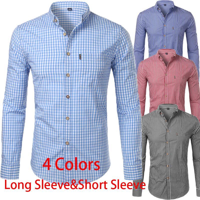Piccolo Plaid Shirt Uomini New manica lunga primavera 100% camice del cotone del Mens pulsante casual Giù Chemise Homme Camisa Masculina 4XL