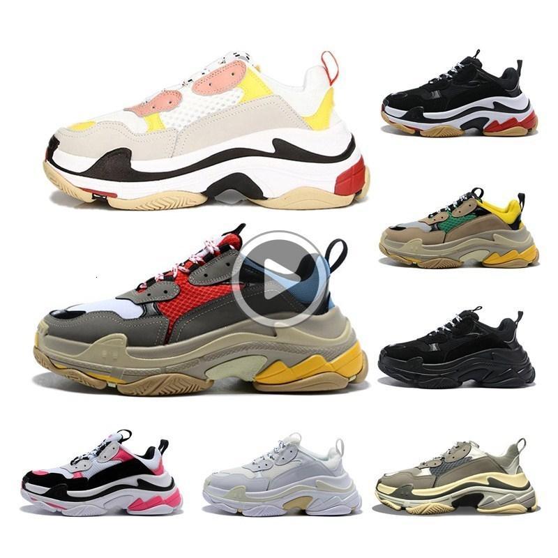 8 cores Retro Luxo Womens Mens Sneaker calçados casuais malha Formadores para sapatas Old Dad Triple S partido na moda estilo de vida diário Skateboarding 8
