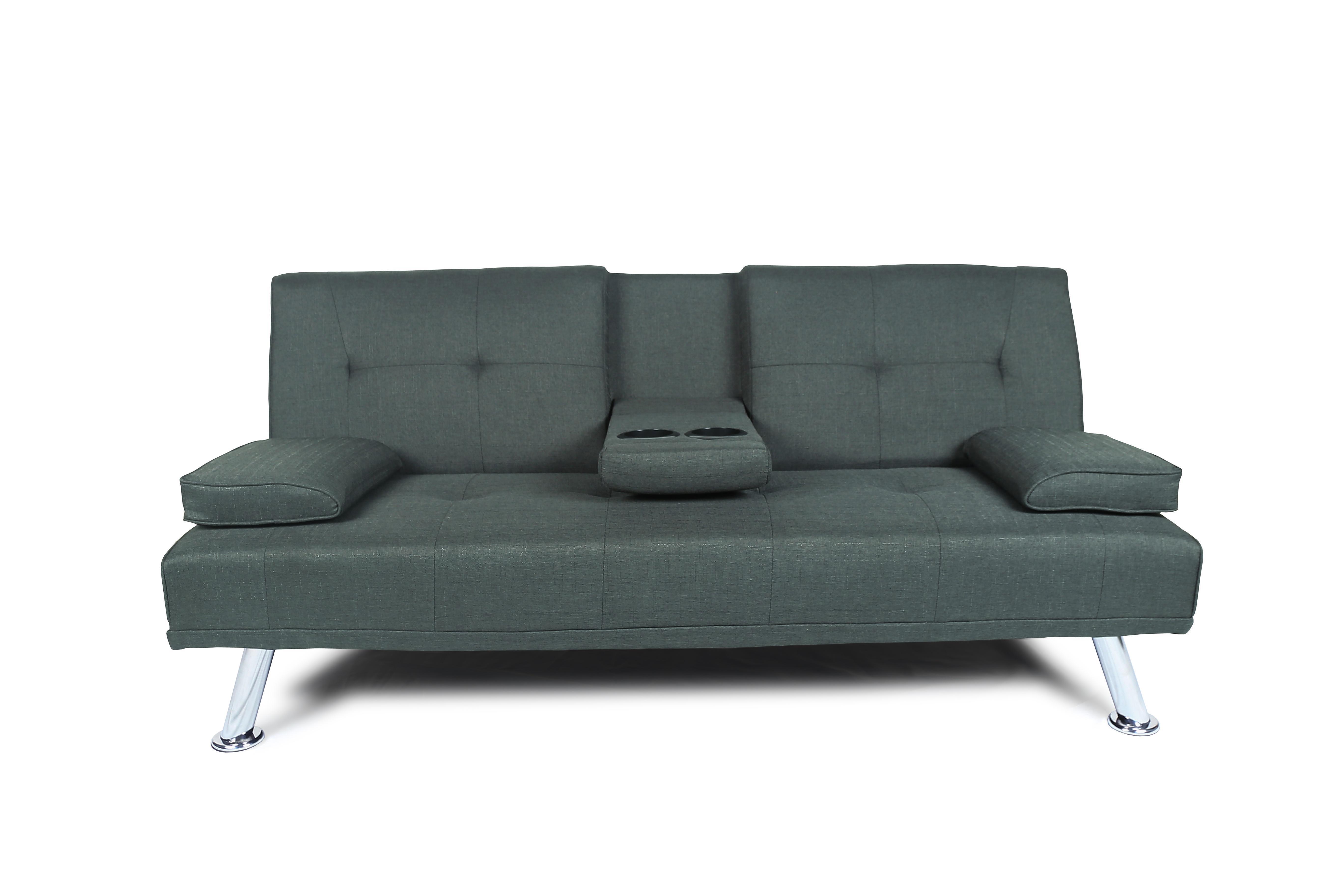 US-Aktien, Futonsofa BED SLEEPER DARK Rohgewebe mit Kissen-Kissen-Multifunktions Wohnzimmer Sofa W22303581